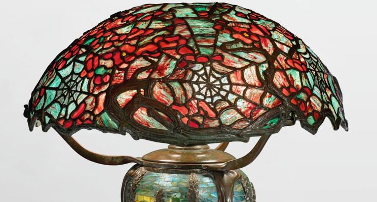 "TIFFANY STUDIOS | An Important and Rare ""Cobweb and Apple Blossom"" Table Lamp"