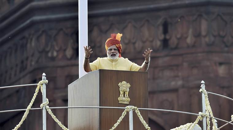 New Delhi: Prime Minister Narendra Modi addressing the nation during the 71st Independence Day function at the historic Red Fort in New Delhi on Tuesday. PTI Photo by Atul Yadav (PTI8_15_2017_000043A)