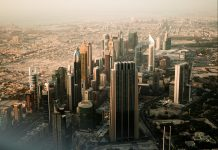 View from Burj Khalifa to the Sheikh Zayed Road. By Ayko Neil Kehl