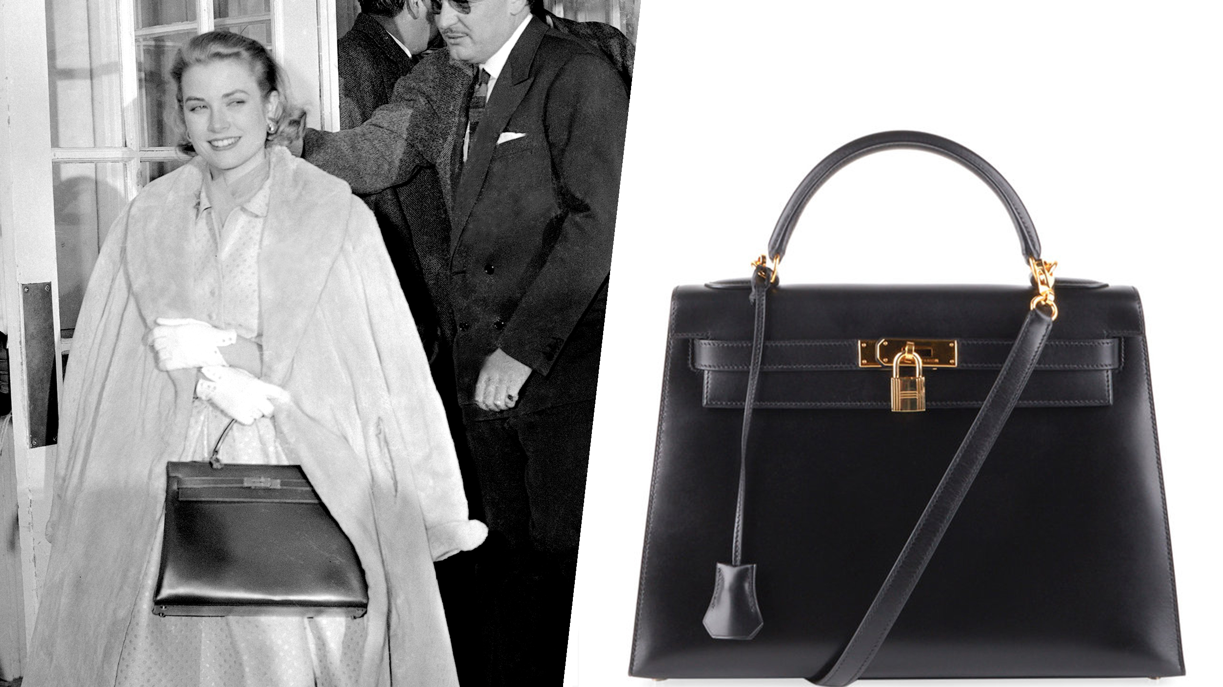 "In this Jan. 5, 1956 file photo actress Grace Kelly sports a Hermes bag as she and Prince Rainier III of Monaco leave a luncheon party in Philadelphia where they announced their engagement. The status handbag market is driven by celebrity trendsetters such as, more recenlty, Katie Holmes and Victoria Beckham, and now some big auction houses are getting in on the act.  The style of handbag favored by Kelly came to be known as a ""Kelly Bag."" . (Right) Vintage Black Box Kelly Sellier 32."