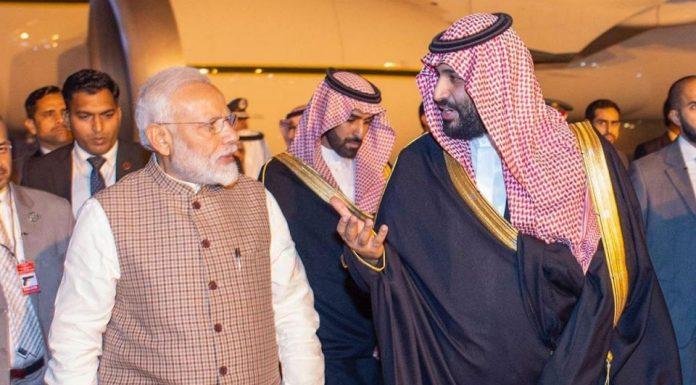 Modi and Crown Prince of Saudi during visit February 2019